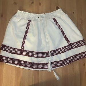 Moon river anthropology white and maroon skirt